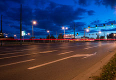 Poznan intersection by night Stock Images
