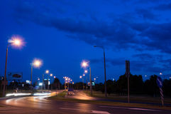 Poznan intersection by night Stock Photo