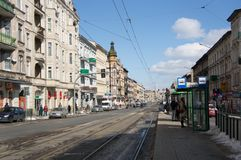 Glogowska street of Poznan Royalty Free Stock Photos