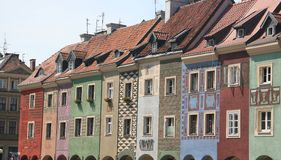 Poznan old city center. Colorful buildings from poznan's old city center Royalty Free Stock Photos