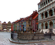 Poznan old town and proserpina fountain. Colorful square in The old town of Poznan stock photography