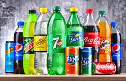 Bottles of global soft drink brands. POZNAN, POLAND - APR 6, 2018: Bottles of global soft drink brands including products of Coca Cola Company and Pepsico Royalty Free Stock Image