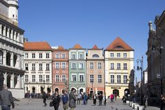 Row of colorful old houses in the historical town square. Poznan, Poland, April 30, 2018: Old Market sqaure in Poznan. Poland. Row of colorful old houses in the Stock Images