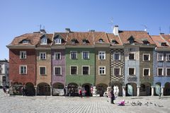Row of colorful old houses in the historical town square. Poznan, Poland, April 30, 2018: Old Market sqaure in Poznan. Poland. Row of colorful old houses in the Stock Photos