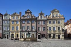 Row of colorful old houses in the historical town square. Poznan, Poland, April 30, 2018: Old Market sqaure in Poznan. Poland. Row of colorful old houses in the Royalty Free Stock Image