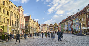 POZNAN, POLAND - APRIL 30, 2017: Old town square on 30 April 201 Royalty Free Stock Photo