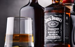 Glass of whiskey and bottle of Jack Daniel's Stock Images