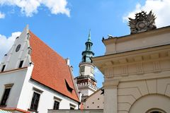 Poznan-Poland. Charming Old Town Market Square. Poznan-Poland. Odwach, Town Hall and old Town Scale Building on Old Market Square and blue sky Royalty Free Stock Photography