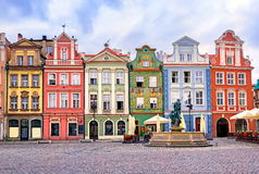 Poznan, Poland. Colorful traditional buildings at the central square of Poznan, Poland Royalty Free Stock Photos