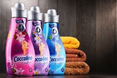Bottles of liquid Coccolino fabric softener. POZNAN, POLAND - DEC 14, 2017: bottles of liquid Coccolino fabric softener owned by Unilever, a British-Dutch Stock Photo