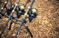 Fishing fairs Rybomania in Poland. Carp rod on the stand.. Stock Photography