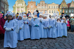 Poznan, Poland - January 6, 2017: Epiphany holiday in Christian religion. Traditional procession, reconstruction of visit of the Magi to the infant Jesus stock photography