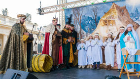 Poznan, Poland - January 6, 2017: Epiphany holiday in Christian religion. Traditional procession, reconstruction of visit of the Magi to the infant Jesus royalty free stock photo