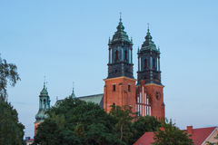 Poznan, Poland - July 1, 2016: View at sunset on cathedral church in polish town Poznan Stock Image