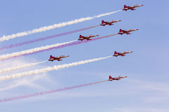 POZNAN, POLAND - JUNE 14: Aerobatic group formation. Turkish Stars at blue sky during Aerofestival 2015 event on June 14, 2015 in Poznan, Poland Stock Photography