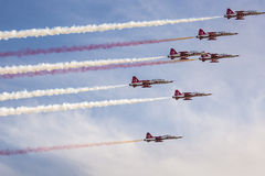 POZNAN, POLAND - JUNE 14: Aerobatic group formation. Turkish Stars at blue sky during Aerofestival 2015 event on June 14, 2015 in Poznan, Poland Stock Photo