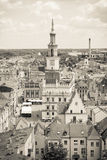 Poznan, Poland - June 28, 2016: Black and white photo, Town hall, old and modern buildings in city Poznan Stock Photo