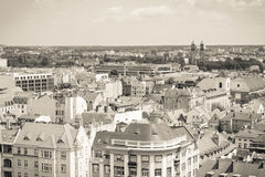 Poznan, Poland - June 28, 2016: Black and white photo, View on old or modern buildings in town Poznan Stock Photo