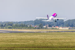 POZNAN, POLAND - JUNE 14: Wizzair plane during Aerofestival 2015 Royalty Free Stock Photo