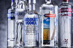 Bottles of several global brands of vodka. POZNAN, POLAND - MAR 30, 2018: Bottles of several global brands of vodka, the world's largest internationally traded royalty free stock photography