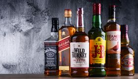Bottles of several global whiskey brands Royalty Free Stock Photography