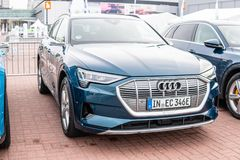 Electric Audi e-tron 55 quattro SUV with high voltage battery and electric engine motor produced by Audi AG stock photo