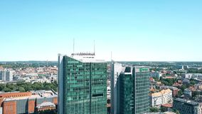 POZNAN, POLAND - MAY 20, 2018. Aerial view of Andersia Tower and Poznan Financial Centre