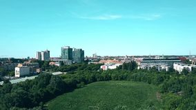 Poznan, Poland - May 20, 2018. Aerial view of old ruined Edmund Szyc Stadium stock video
