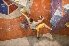 Poznan, Poland, may 20, 2017: Indoors climbing competition: Pow royalty free stock photos