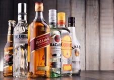 Bottles of assorted global hard liquor brands Stock Photos