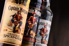 Bottles of Captain Morgan Rum. POZNAN, POLAND - NOV 8, 2017: Originated on US Virgin Islands Captain Morgan is a brand of rum produced by Diageo, British stock photos