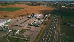 POZNAN, POLAND - OCTOBER 20, 2018. Aerial view of MAN Truck Bus dealership royalty free stock photo