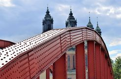 Poznan-Poland. Ostrow Tumski - Bishop Jordan`s bridge. Poznan-Poland. Metal bridge connecting Ostrow Tumski and cathedral with another old part of Poznan -Srodka Stock Photo
