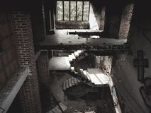 Poznan, Poland - 09 12 2014: Staircase in abandoned building near the Maltese lake. stock photo