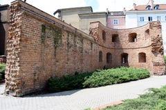 Poznan-Polen Fördärvar av gamla stadväggar Royaltyfri Fotografi