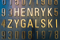 Poznan POLEN - September 06, 2016: Monument av polska cryptologists (Enigma Codebrakers) Royaltyfria Foton