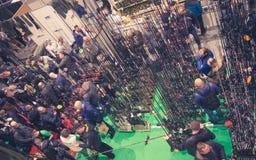 Poznan, Polonia - 10 febbraio 2018: Vista superiore panoramica del padiglione di mostra, Rybomania, in Polonia Mostre, partecipan Fotografia Stock
