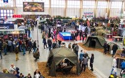 Poznan, Polonia - 10 febbraio 2018: Vista superiore panoramica del padiglione di mostra, Rybomania, in Polonia Mostre, partecipan Fotografie Stock