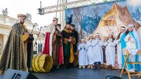Poznan, Polonia - 6 gennaio 2017: Festa di epifania nella religione cristiana fotografia stock libera da diritti