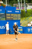 Poznan Porshe Open 2009 - P.Luczak (AUS) serve. Peter Luczak (AUS) serves during final match at Poznan Porsche Open 2009. Finals of International ATP Tennis Stock Photo