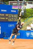 Poznan Porshe Open 2009 - P.Luczak (AUS) serving. Peter Luczak (AUS) serving during final match at Poznan Porsche Open 2009. Finals of International ATP Tennis Royalty Free Stock Photo