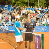 Poznan Porshe Open 2009 - Schukin-Luczak handshake. Yuri Schukin (KAZ) and Peter Luczak (AUS) handshake after match at Poznan Porsche Open 2009 Stock Photos