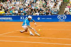 Poznan Porshe Open 2009 - Y.Schukin (KAZ). Yuri Schukin (KAZ) plays during final match at Poznan Porsche Open 2009. Finals of International ATP Tennis Tournament Royalty Free Stock Photos