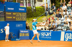 Poznan Porshe Open 2009 - Y.Schukin (KAZ) backhand. Yuri Schukin (KAZ) plays backhand during final match at Poznan Porsche Open 2009. Finals of International ATP Stock Photography