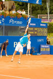 Poznan Porshe Open 2009 - Y.Schukin (KAZ) serve. Yuri Schukin (KAZ) serves during final match at Poznan Porsche Open 2009. Finals of International ATP Tennis Stock Image
