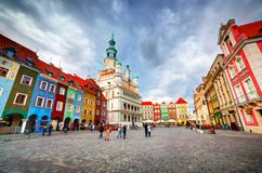 Poznan, Posen market square, old town, Poland. Town hall and colourful historical buildings Royalty Free Stock Image