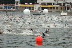 Poznan Triathlon Arkivfoton