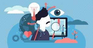 Poznawanie wektoru ilustracja Płaski malutki umysłowy uczenie persons pojęcie royalty ilustracja