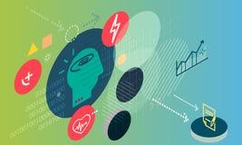 Poznawczy główkowanie i niepokój - Abstrakcjonistyczna ilustracja ilustracji