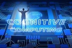 Poznawczy oblicza pojęcie jako przyszłościowa technologia z businessma ilustracji
